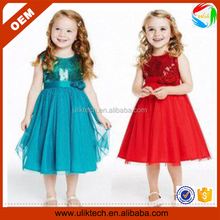 Beautiful sequins embroidery baby girl party dress children frocks designs (Ulik-A0098)
