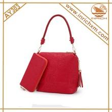 2015 Stylish Pattern Leather Handbag With Matching Purse