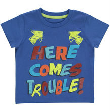 Boys Here Comes Trouble slogan printed kids t shirt in blue