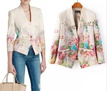 14935 FanShou 2015 Women Coat Spring Autumn Fashion Outwear Office Lady Jacket Nine Quater Sleeve Flower Print Women Blazer