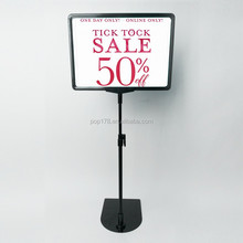 plastic double sided picture frame poster frame floor display stand