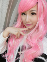 Fashion 100cm long pink curly Vocaloid Megurine Luka Cosplay Party full Wig QPWG-2165