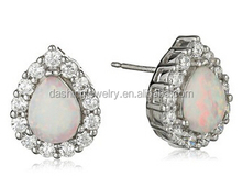 Fashion Sterling Silver Created White crystal 925 silver synthetic vietnam jewelry opal stone earrings