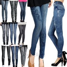 2014 hotsell stretchy leggings printed tights fake jeans seamless women leggings