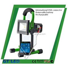 CE RoHS SAA approved rechargeable led light 3.5hrs to 12hrs working time rechargeable led floodlight with USB port