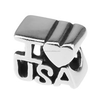 Wholesale I Love USA Authentic 925 Sterling Silver Charm for European Bracelet