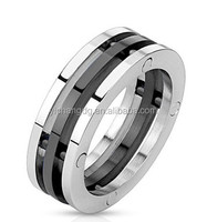 Fashion Jewelry Platinum Ring Prices In Pakistan, Iindustrial Style Triple Bolted Combination Black And Stainless Steel Ring