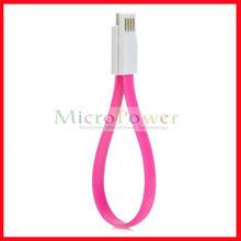Usb a Micro USB Data / carga magnética Cable plano para Samsung / HTC / Xiaomi - Deep Pink + blanco