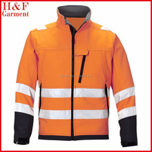 en20471 fluorescent orange and waterproof safety Jacket with silver reflective tape