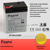 Emergency lamp sealed lead acid battery 6v 4.0ah 4.5ah rechargeable valve regulated battery