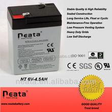 Emergency lamp sealed lead acid battery 6v 4.0ah 4.5ah rechargeable valve regulated battery