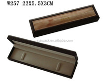 Factory Manufacture Leather Top Solid Wooden Jewellry Bracelet Box Lining Velvet with Hinge W257