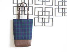 2014 Best Selling Bag New Design Plaid Fabric and PU Bag Lady Tote Bag HD0445