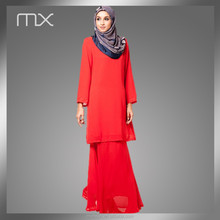 Red Model Muslim women clothing Blue Modern V-Neck baju kurung 2015