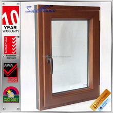 Fashion design tilt out aluminum clad wood window with wood color