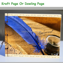 2015 retro Feather Printing Paper Cover kraft paper blank drawing sketch Notebook Laptop Kraft Page Or Dowling