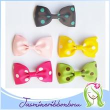 Simple hair ribbon bow clip,dots hair bow for girl,girl fashion boutique hair clip