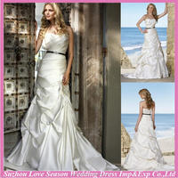 WD7683 new famous for wholesales strapless black ribbon sash ruched satin royal train mermaid beach fashion wedding dresses