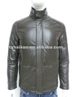 soft thin leather jacket/fur collar/collar can stand