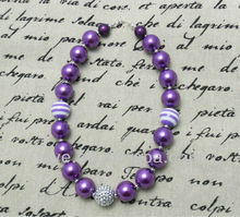 New Boutique Lovely Cute Purple Pearl Bead Baby Chunky Bubblegum Necklace