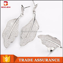 wholesale fashion custom jewelry earring and ring jewelry sets white gold plated leaf-shaped silver jewelry set from China