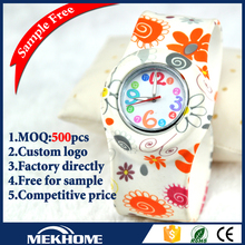 silicone slap fancy brand lady watch for wholesale/watch brand name