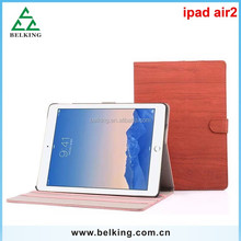 Flip wood leather case for ipad air 2, for ipad 6 wood stand leather case