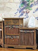 Brown office general use paper weave basket drawer storage units cabinet