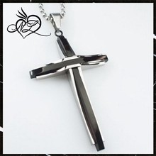 Unisex Fashion Punk Rock Mens 316L Black Silver Stainless Steel Polished Ball Chain Simple Cross Necklaces Pendants
