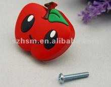 Smile apple shape knob pvc cartoon cabinet drawer dresser wardrobe handle knobs