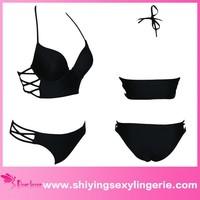 Newly fashion Designs wholesale hot sale sexy young girls black bikini