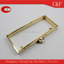 Golden vintage Metal Clutch Frame with Nice fan-shaped kiss lock, bag frame closure hardware
