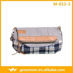 New Design Canvas Handbag For Teenagers Grey Color & Blue Check Texture