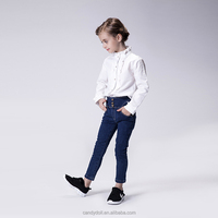 Korean Casual style fashion kids girls juans dark wash floral lace pocket skinny jeans for girls fall winter pants
