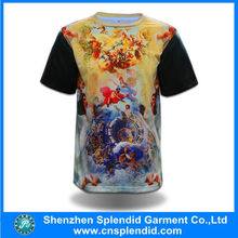 custom print t-shirt with leather sleeves digital 3d printed shirt