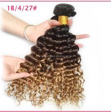 Ombre Hair Extensions Brazilian Deep Curls 3 Tone Human Hair Ombre Brazilian virgin Hair Deep Wave