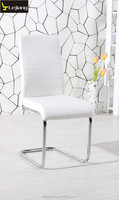 modern german style round tube chrome leather fabric dining room chair