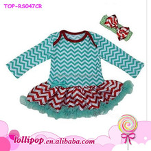 2015 hot sale Baby Xmas Aqua Green Red Chevron Bodysuit Tutu Party Dress Romper Pettiskirt0-24m