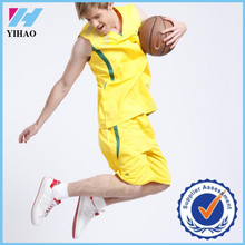 Yihao 2015 hot selling custom mens 100% polyester cheap breathable basketball jersey uniform set