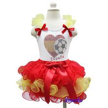 Girls Tutu World Cup Red Yellow Spain Espana Flag Football Tee Shirt Party Clothing 1-7Y