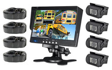 Car Reverse Kit with 7inch LCD Quad Monitor for Bus Truck Trailer Van