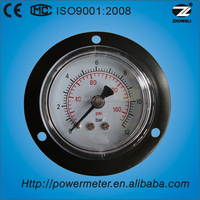 40/50/60mm steel case back mounting with flange pressure gauge double scale with CE&ISO approved