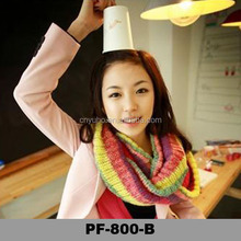 Winter shawl knitted multicolor lady round stripe infinty scarf warm scarf in China