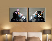 Boy And Girl Lovely Gorilla Handpainted Modern Home Decoration Oil Painting Wall Art Paintings Animal Picture Paints On Canvas