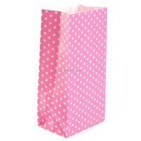 5Pcs Colored Dots Flat Bottom Bag Food Treat Candy Paper Bags Gift/Wedding/Christmas/Kids Birthday Party Packaging Bag