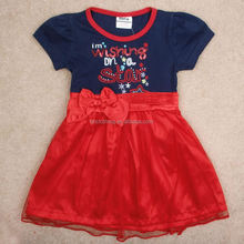(H4829) fancy summer dress one piece baby girls party dresses with red bow tie