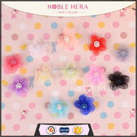 12colors for choose pearls in center Chiffon flower head diy flower head