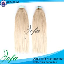 Top quality 7A hair double drawn virgin russian blonde tape hair