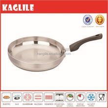 New design logo customized stainless steel sand polish frying pan with bakelite handle