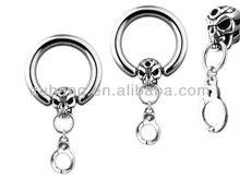 Skull Handcuff Dangle CBR CAPTIVE BEAD Silver Nipple Shield Rings Body Piercing Jewelry